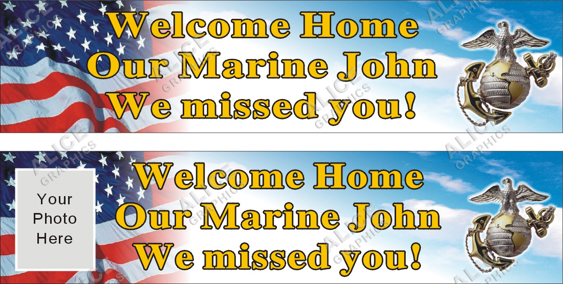 2ftx8ft personalized welcome home u s   us  marine banner