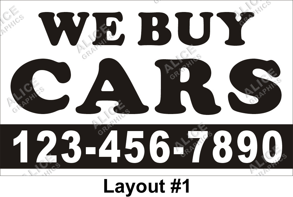 3ftX5ft WE BUY CARS Banner Sign with Your Phone Number, Alice Graphics