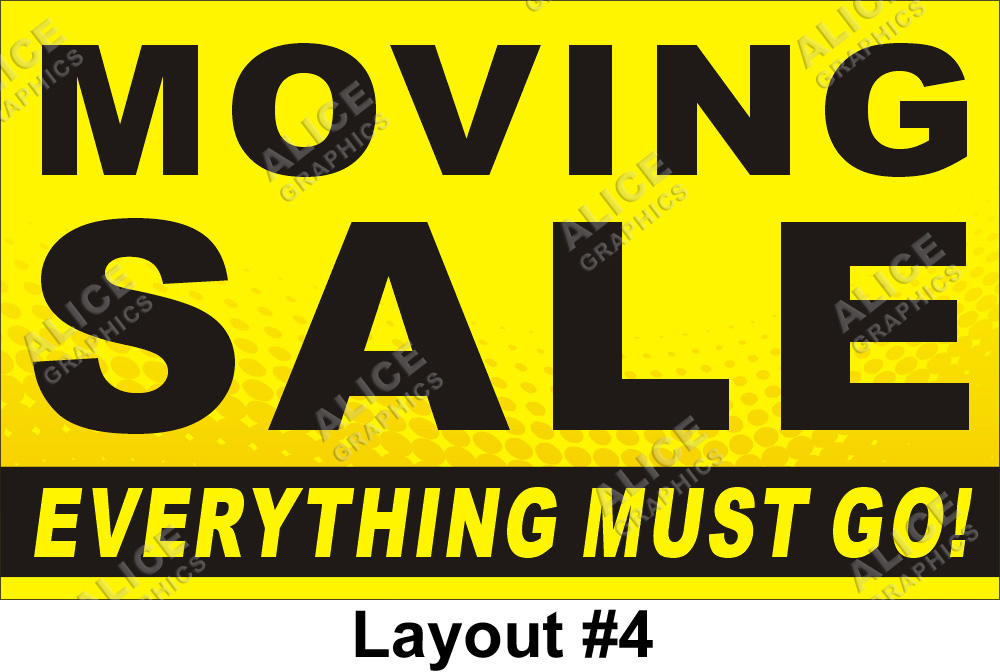 3ftx5ft Moving Sale Everything Must Go Banner Alice Graphics