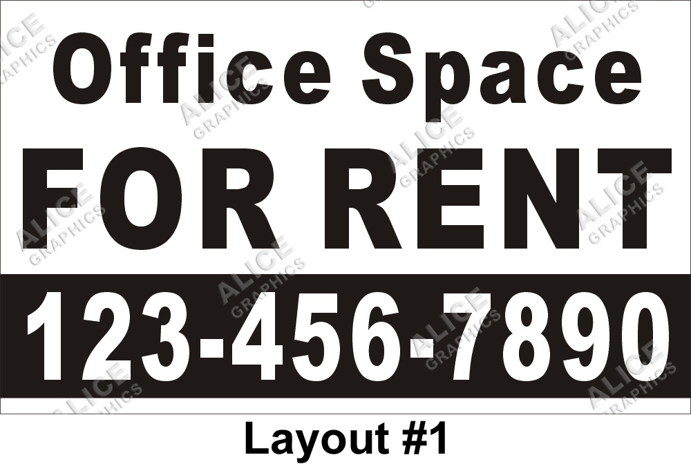 3ftx5ft office space for rent banner with your phone number alice graphics - Shared office space for rent ...