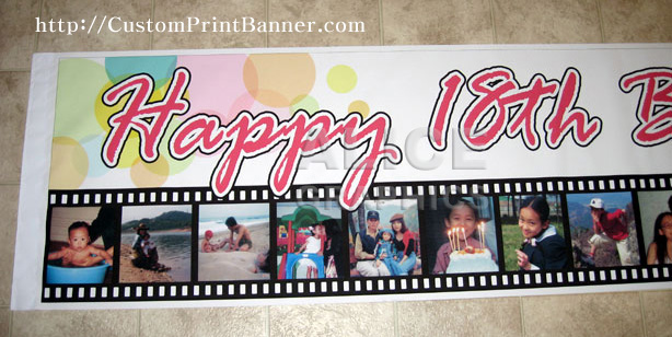 1 6ftX9ft Personalized Happy 18th Birthday Banner
